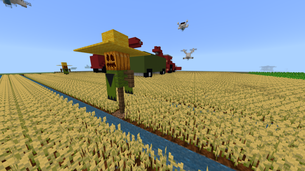 Wheat farm with drones